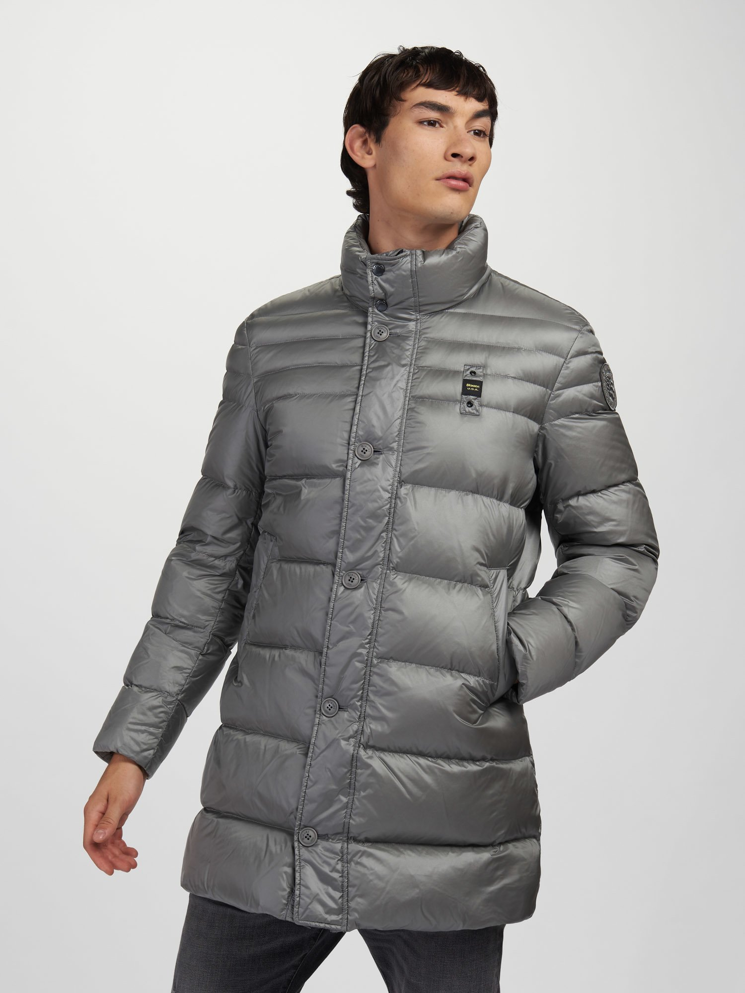 Blauer - CRAIG SHINY LONG DOWN JACKET - Grey Pigeon - Blauer