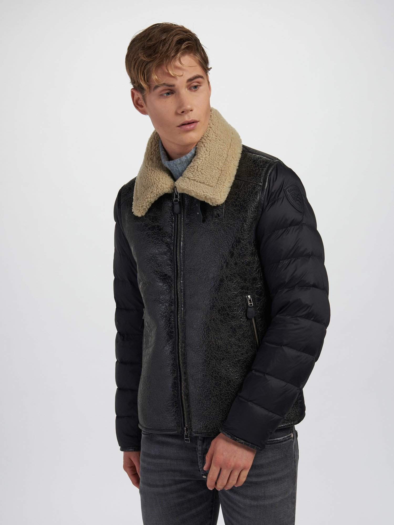 Blauer - ERIC SHEARLING WITH LARGE COLLAR - Black - Blauer
