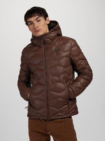 SCOTT HOODED LEATHER DOWN JACKET