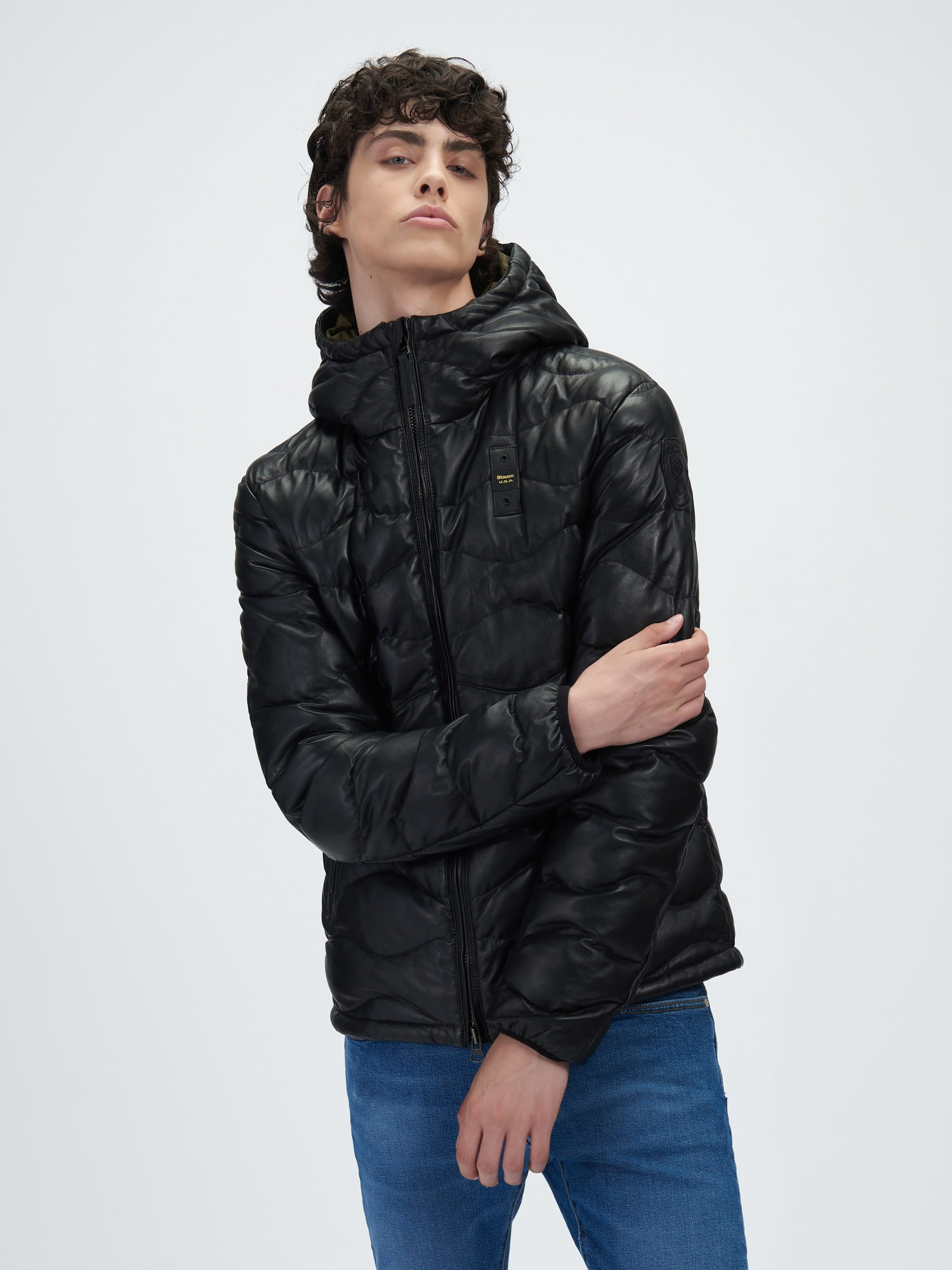 SCOTT HOODED LEATHER DOWN JACKET - Blauer