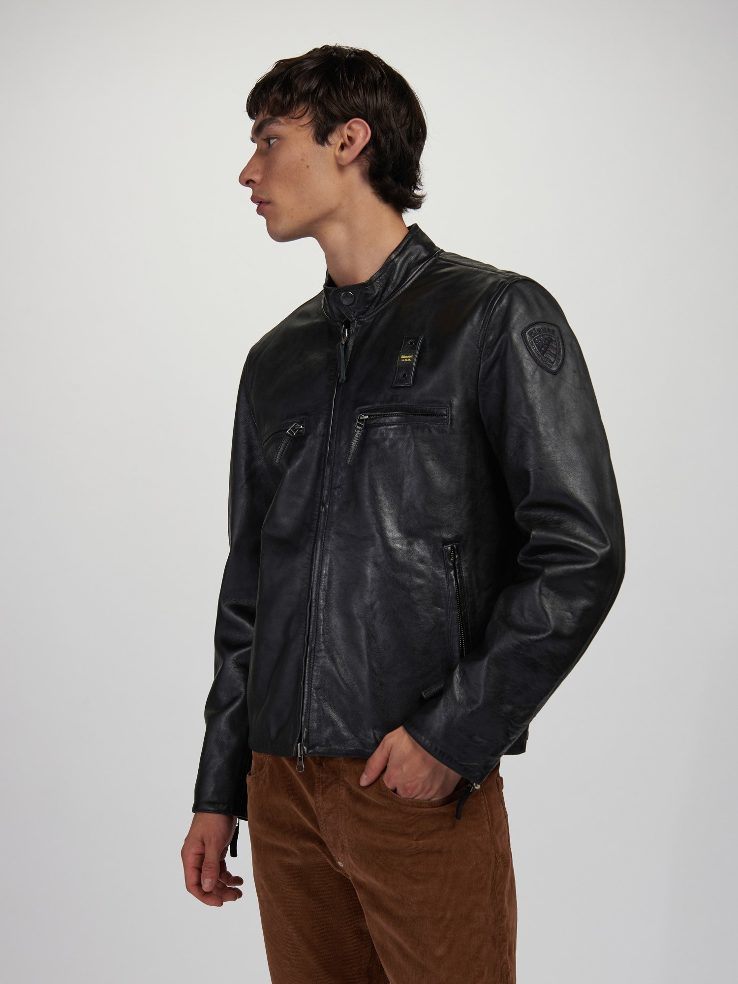 Blauer - JERRY LINED LEATHER JACKET - Black - Blauer