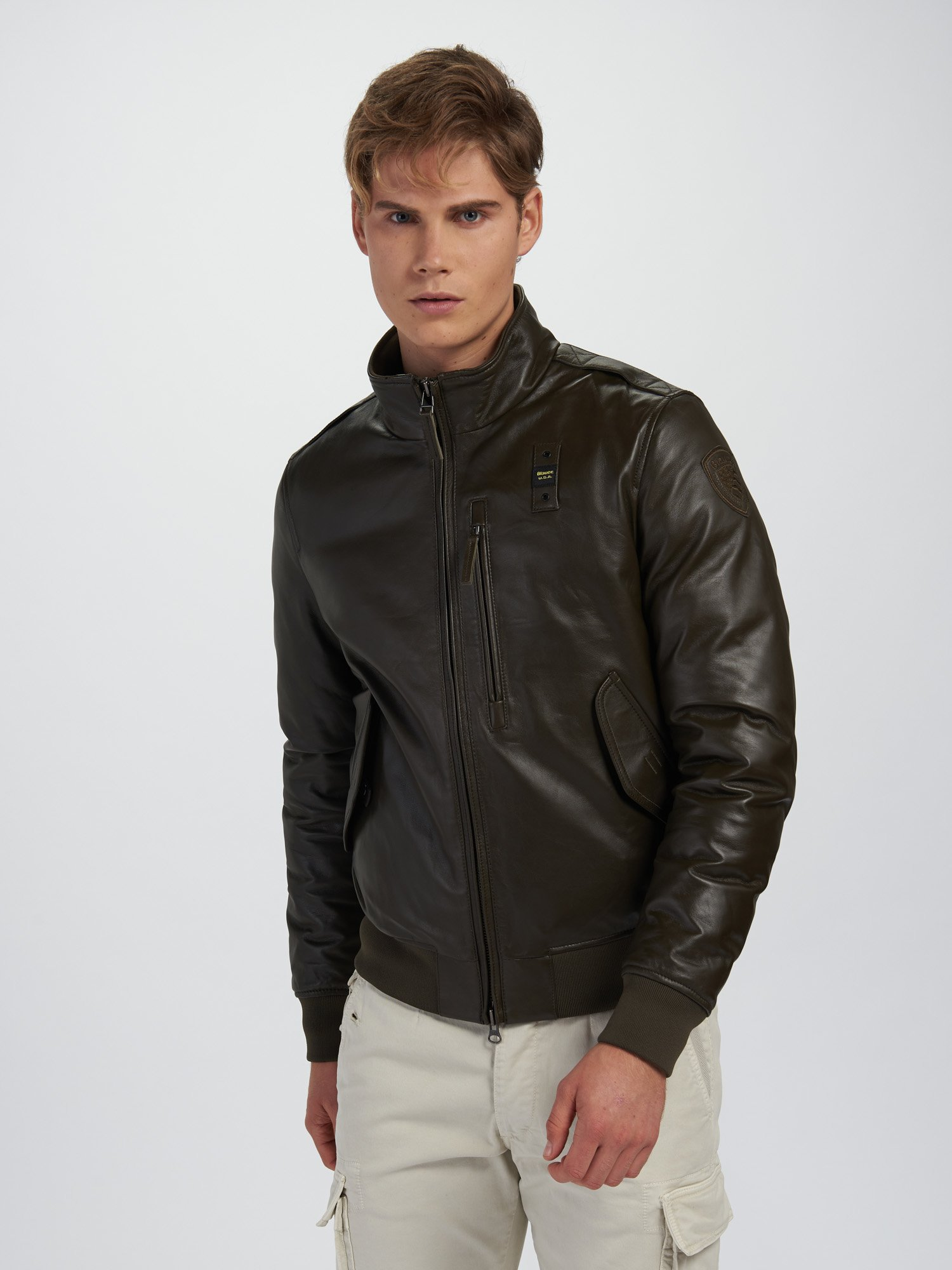 DENNIS LEATHER BOMBER JACKET WITH HIGH NECK - Blauer
