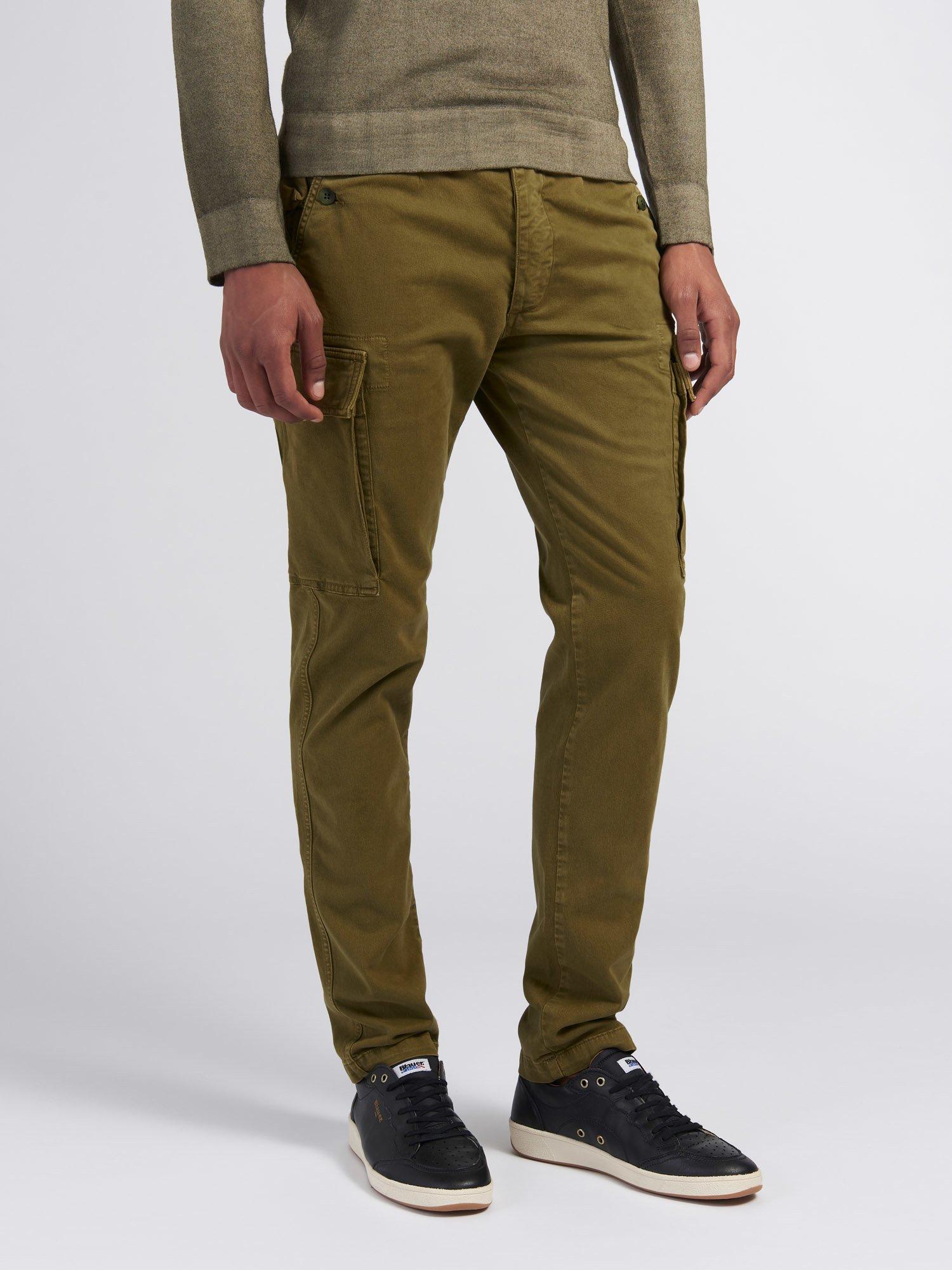 Blauer - GARMENT-DYED STRETCH PANTS - Light Military Green - Blauer