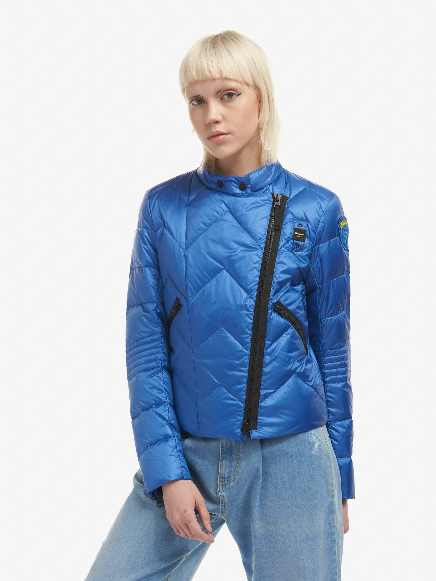 Blauer - ANNE BIKER-STYLE DOWN JACKET - Light Sapphire Blue - Blauer