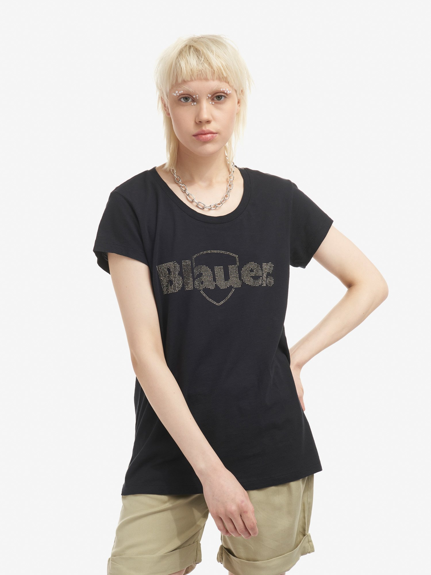 Blauer - ФУТБОЛКА BLAUER СО СТРАЗАМИ - черный - Blauer