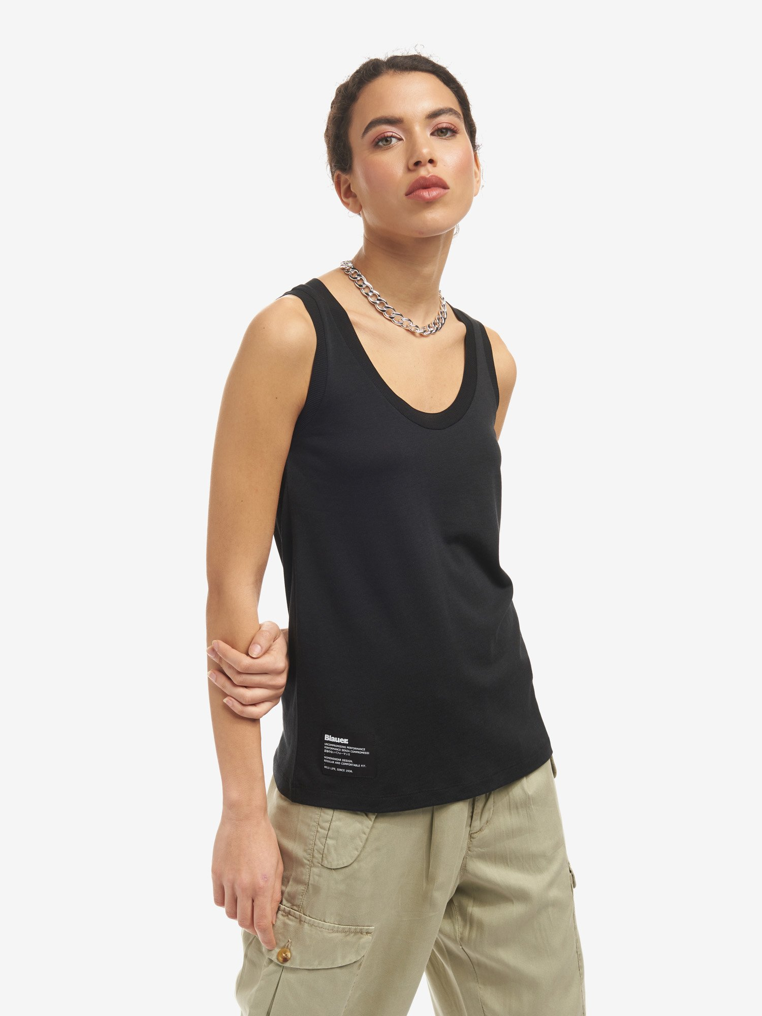COTTON AND LYOCELL TANK - Blauer