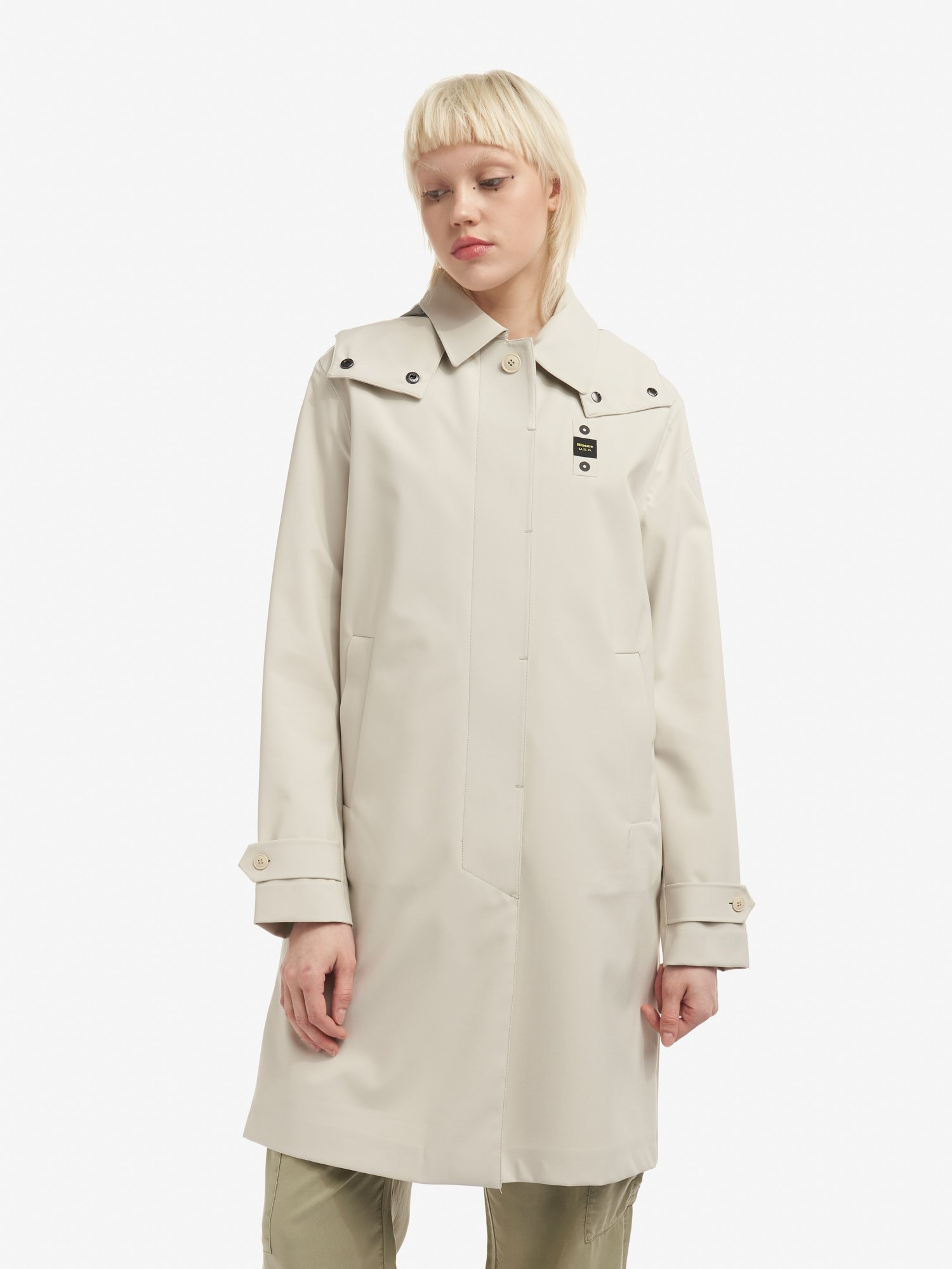 Blauer - GRACE UNLINED NEOPRENE TRENCH COAT - Malt - Blauer