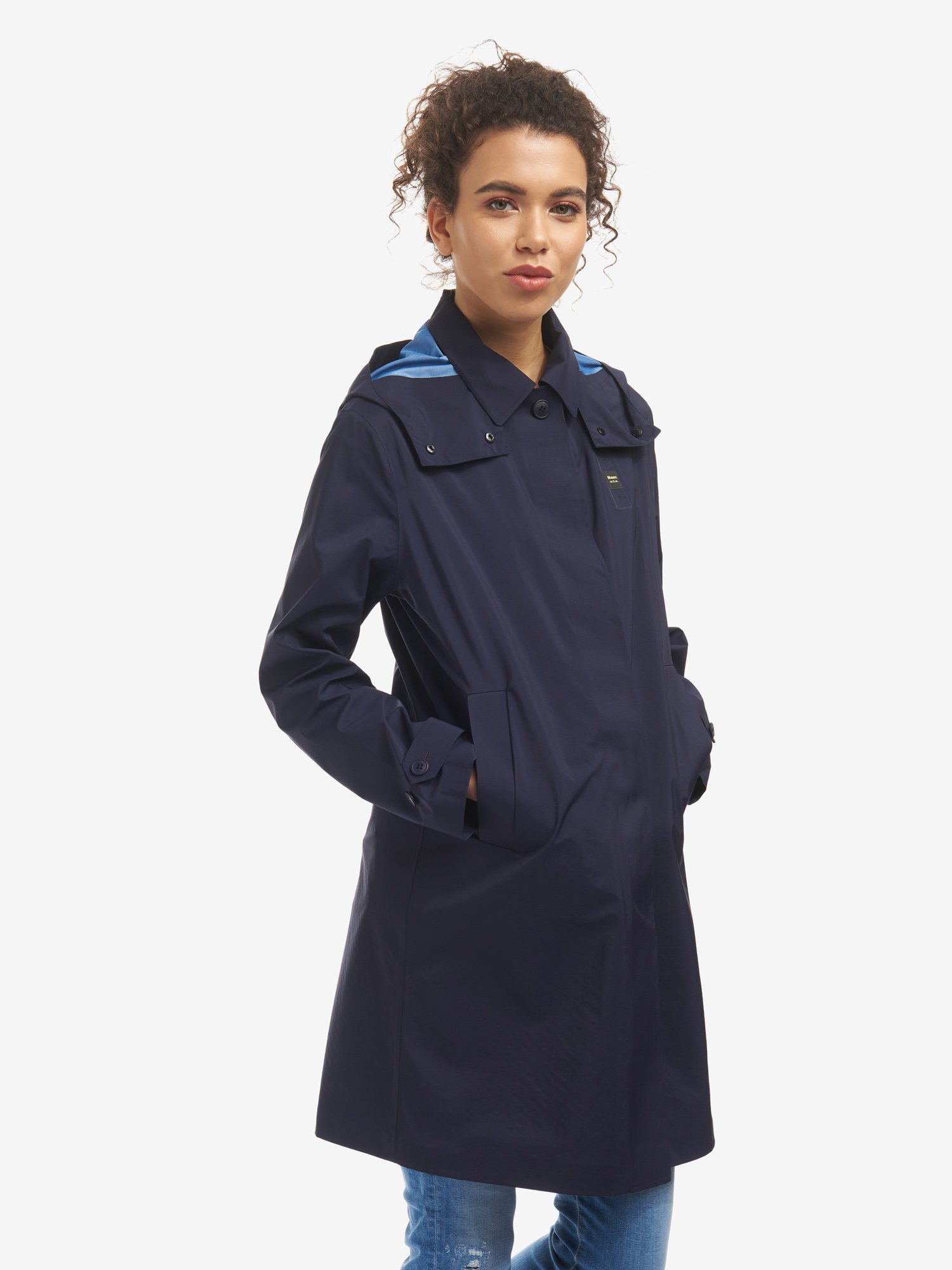 Blauer - VICTORIA UNLINED NYLON TRENCH COAT - Dark Sapphire - Blauer