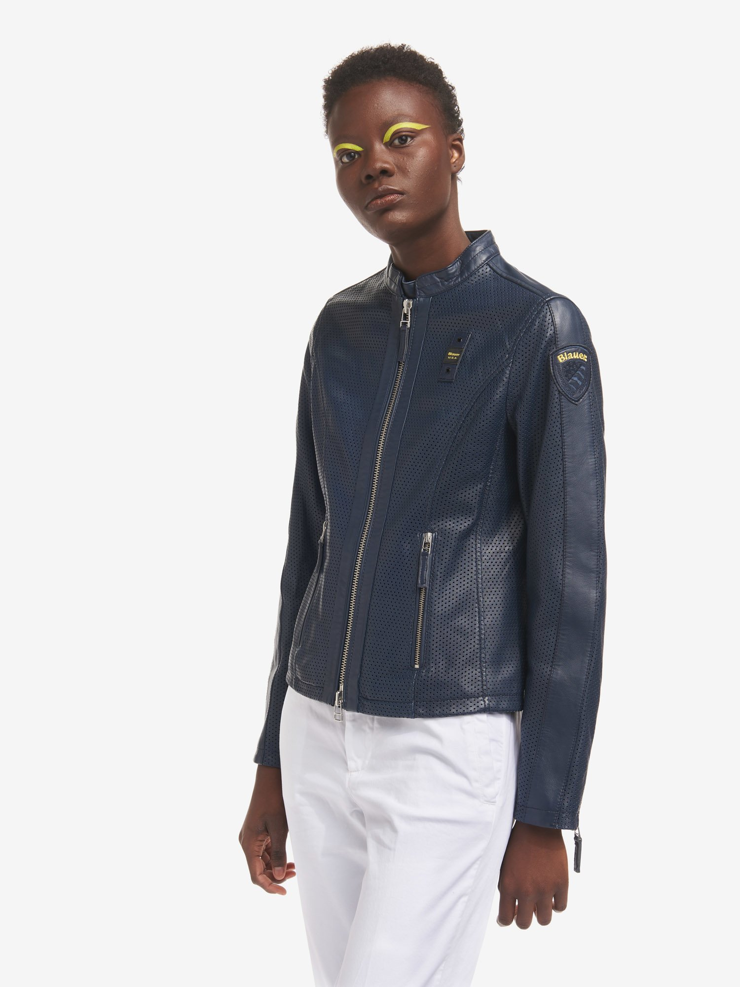 EDITH PERFORATED AND LINED BIKER JACKET - Blauer