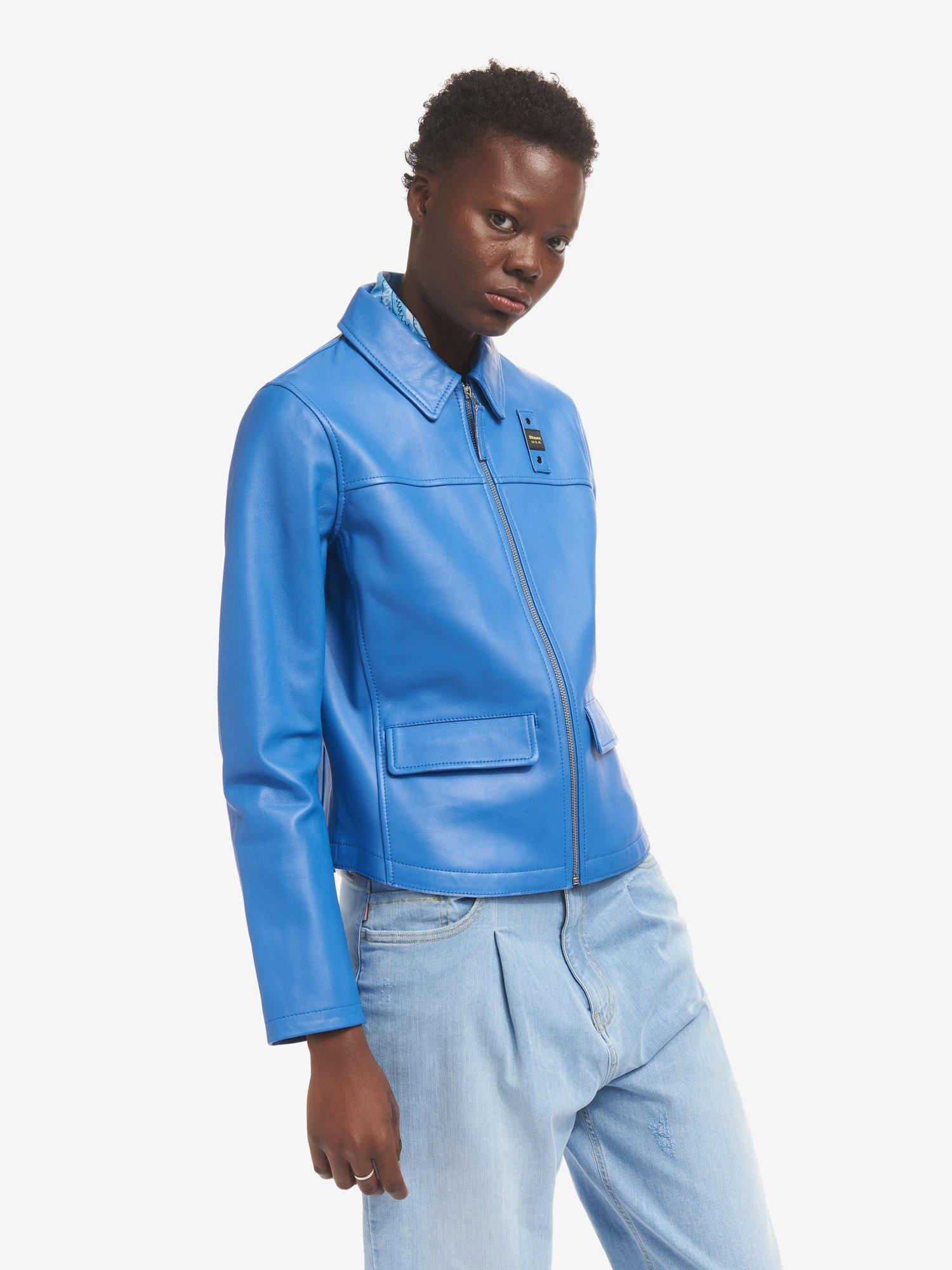 Blauer - SHERRY UNLINED LEATHER JACKET - Light Sapphire Blue - Blauer