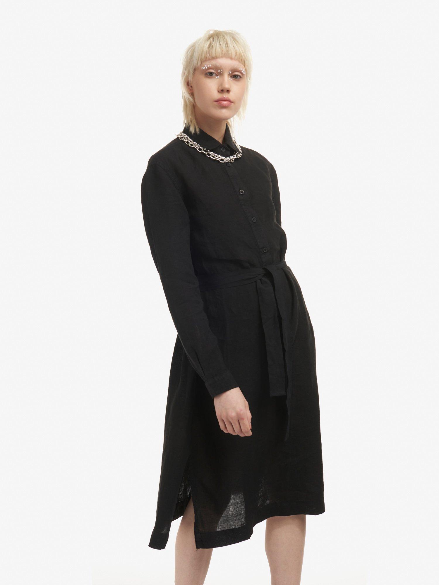 Blauer - LINEN DRESS - Black - Blauer