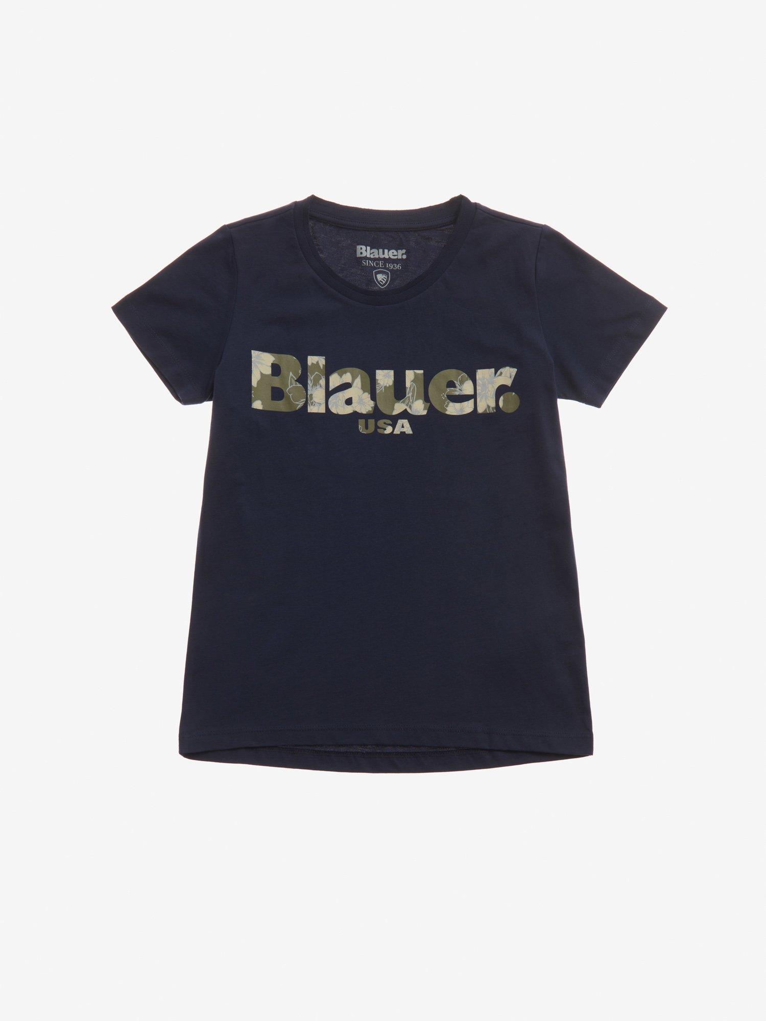 T-SHIRT BLAUER BLUMENOPTIK FÜR MÄDCHEN - Blauer