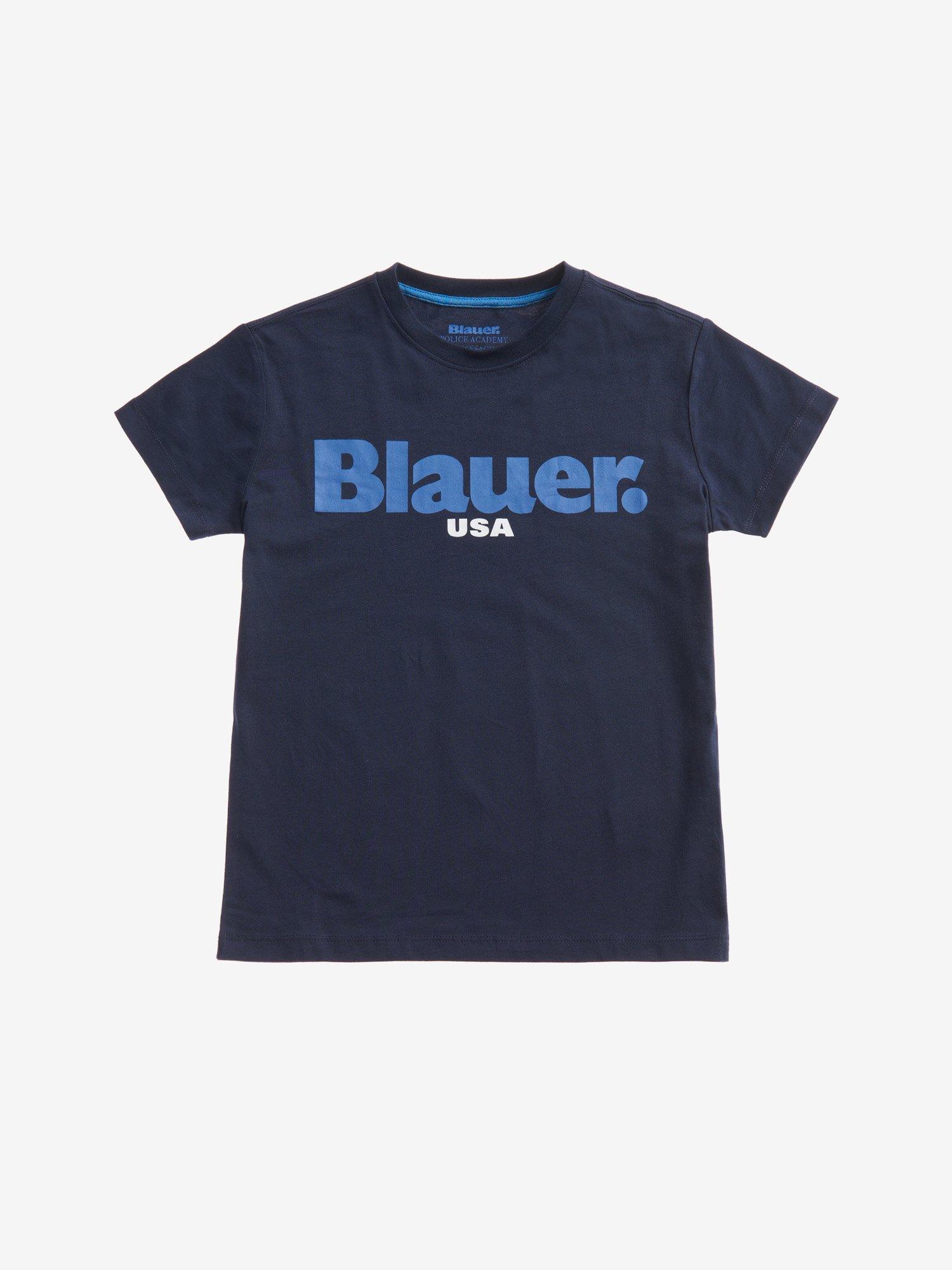 Blauer - T-SHIRT POUR GARÇON BLAUER USA - Dark Sapphire - Blauer