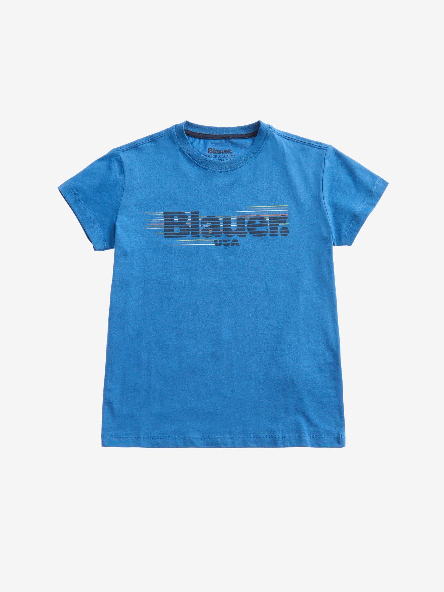 Blauer - T-SHIRT POUR GARÇON RAYÉ BLAUER - Light Sapphire Blue - Blauer
