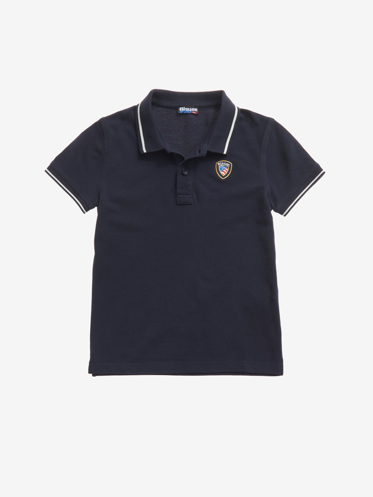 POLO SHIRT WITH STRIPED RIBBING - Blauer