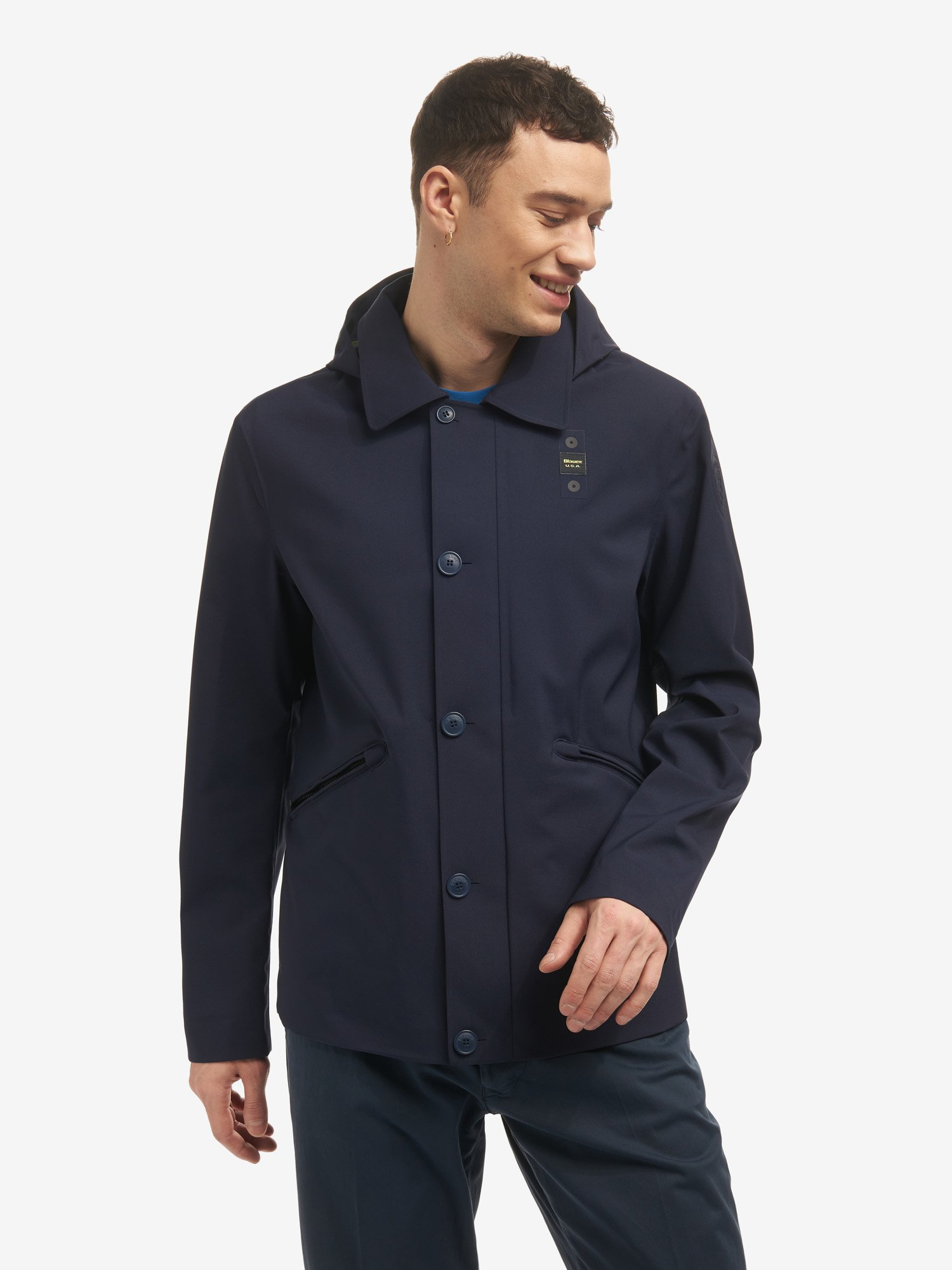 MIGUEL HOODED NEOPRENE JACKET - Blauer