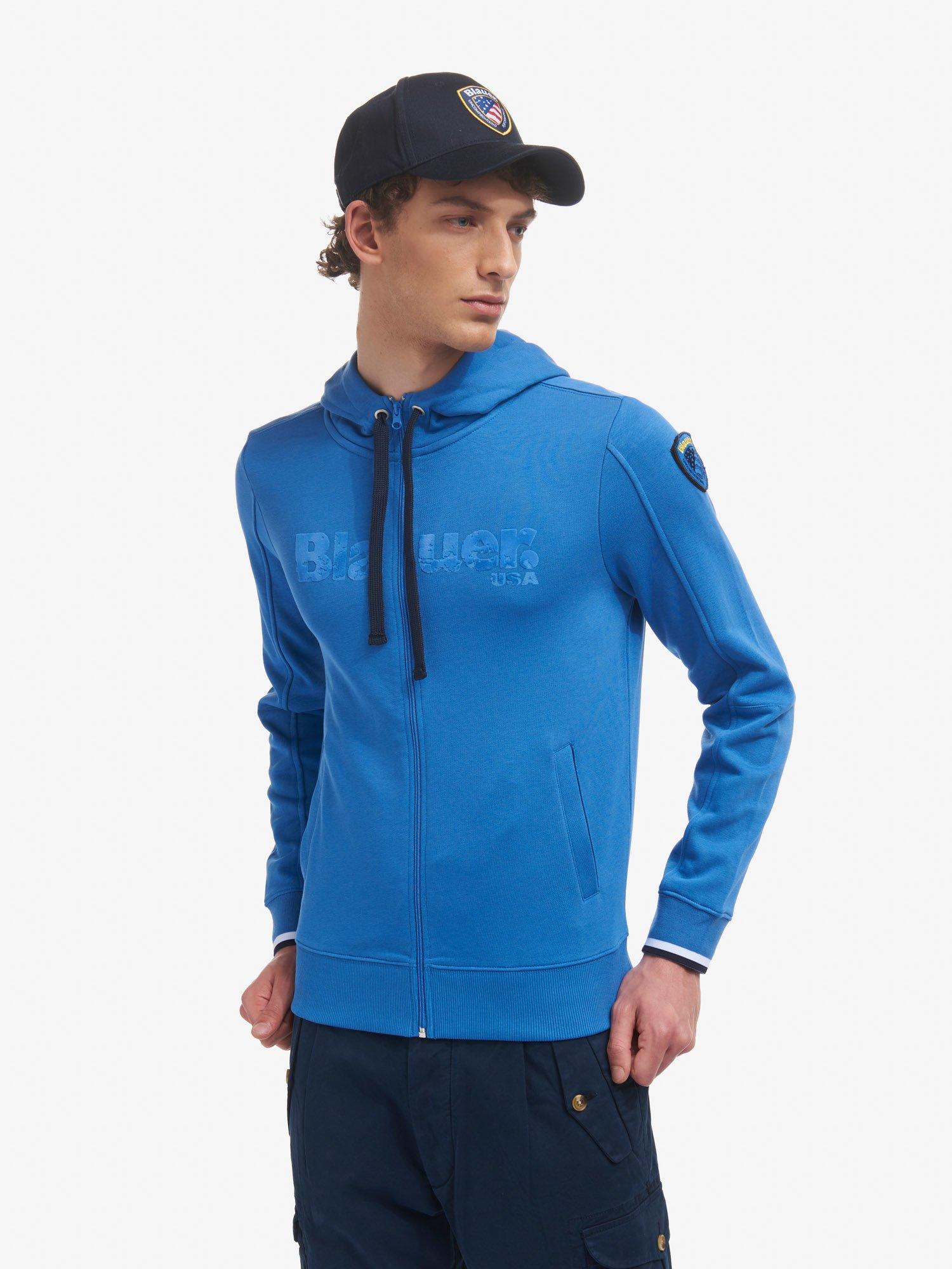 Blauer - SWEATSHIRT WITH HOOD AND ZIP - Light Sapphire Blue - Blauer