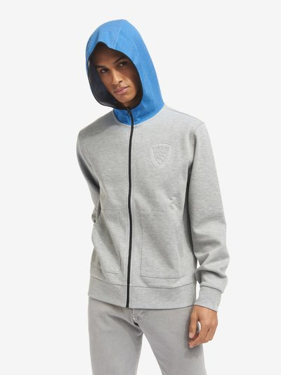 SWEATSHIRT WITH HOOD AND TWO-TONE ZIP
