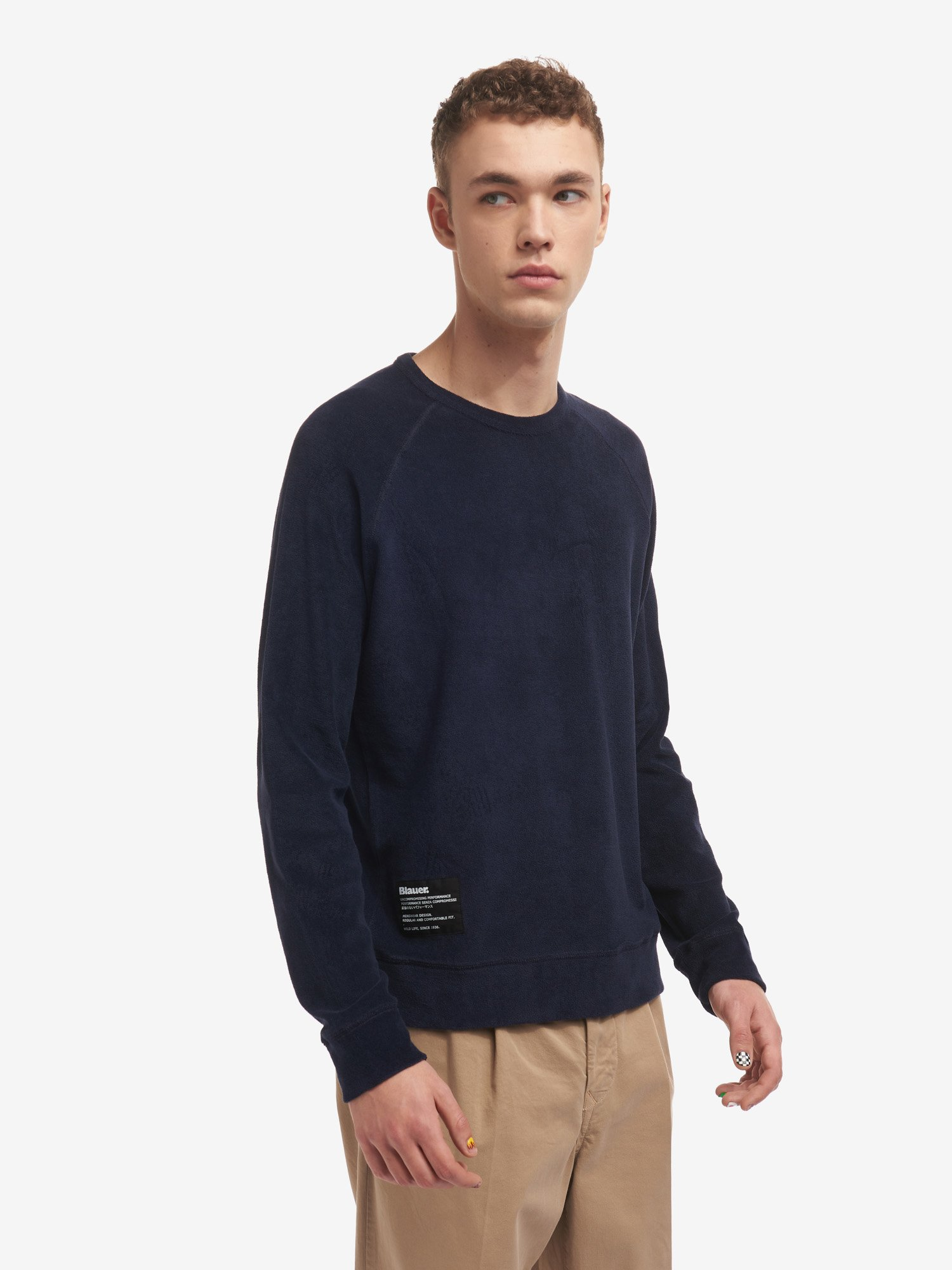 Blauer - CREW NECK SWEATSHIRT IN COTTON TERRY - Dark Sapphire - Blauer
