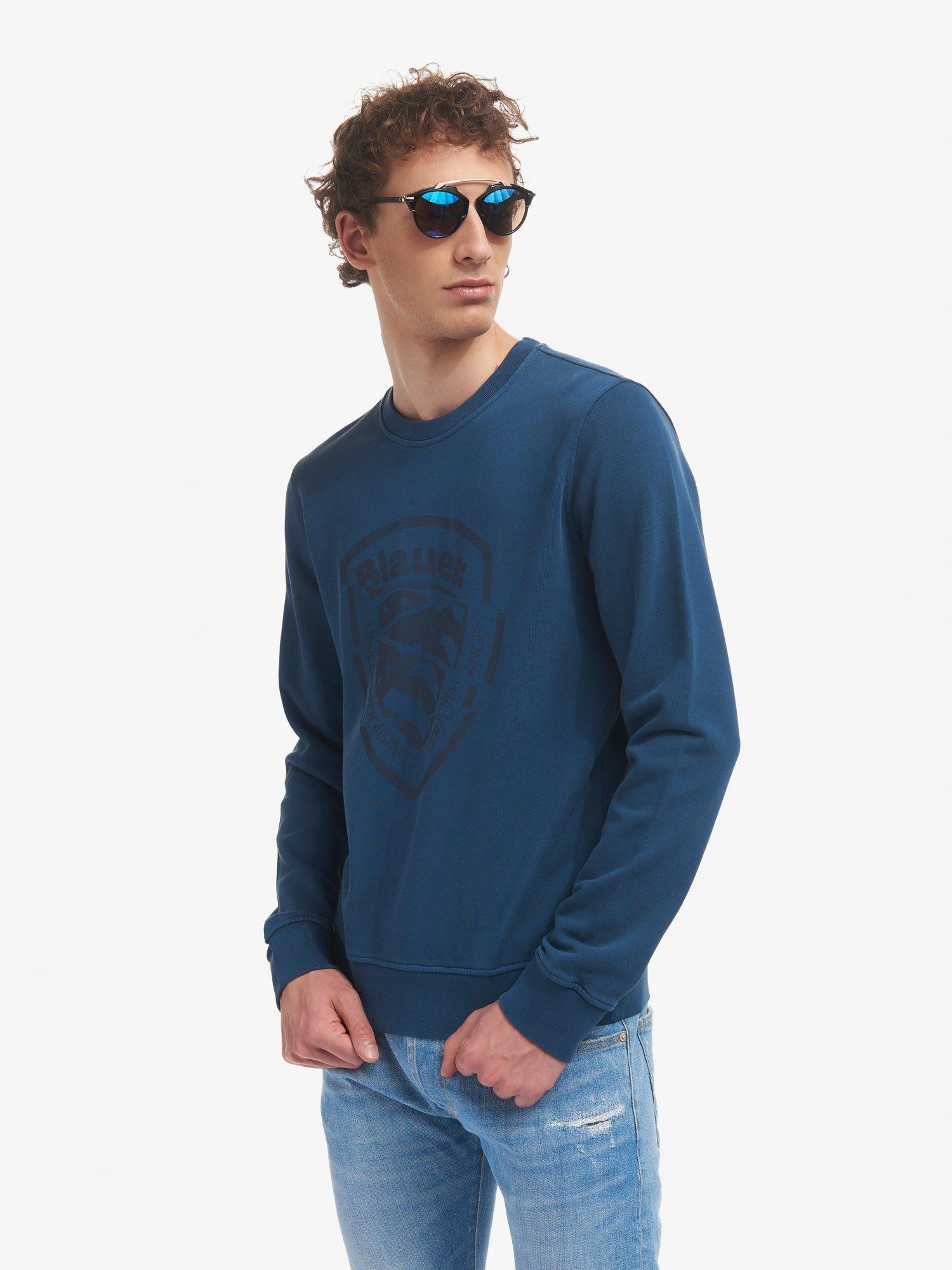 Blauer - BLAUER RUNDHALS-SWEATSHIRT AUS BAUMWOLLE - Dark Sapphire - Blauer