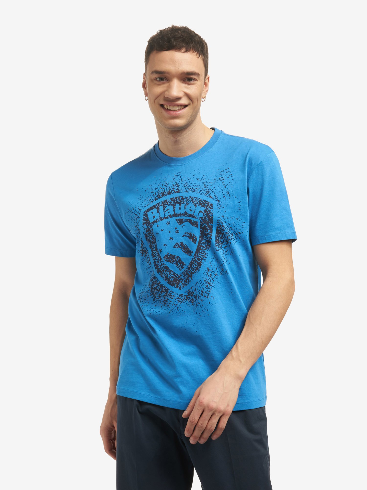 Blauer - BLAUER SHIELD SHORT SLEEVE T-SHIRT - Light Sapphire Blue - Blauer