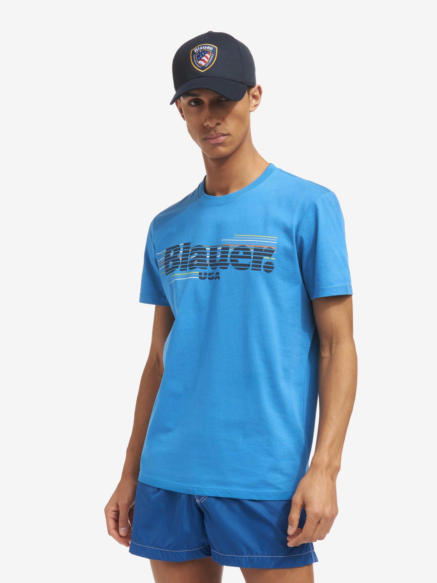 Blauer - GESTREIFTES T-SHIRT BLAUER - Light Sapphire Blue - Blauer