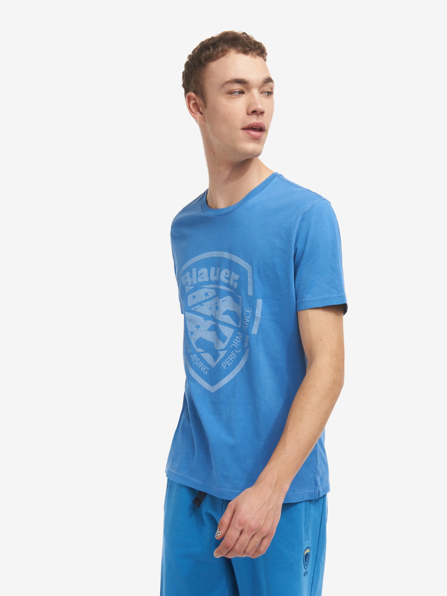 Blauer - CROPPED SHIELD T-SHIRT - Light Sapphire Blue - Blauer
