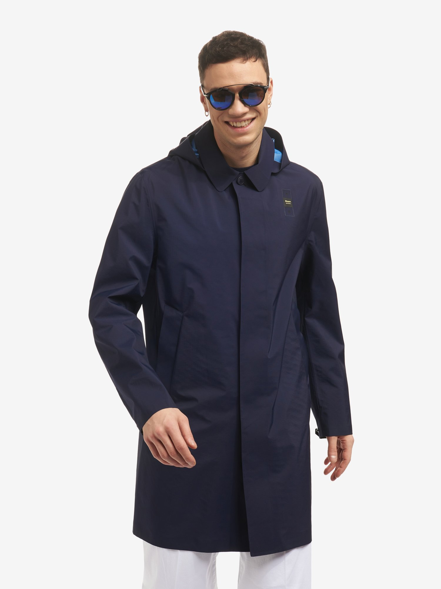 Blauer - JIM TRENCH COAT IN MICRO-RIP - Dark Sapphire - Blauer
