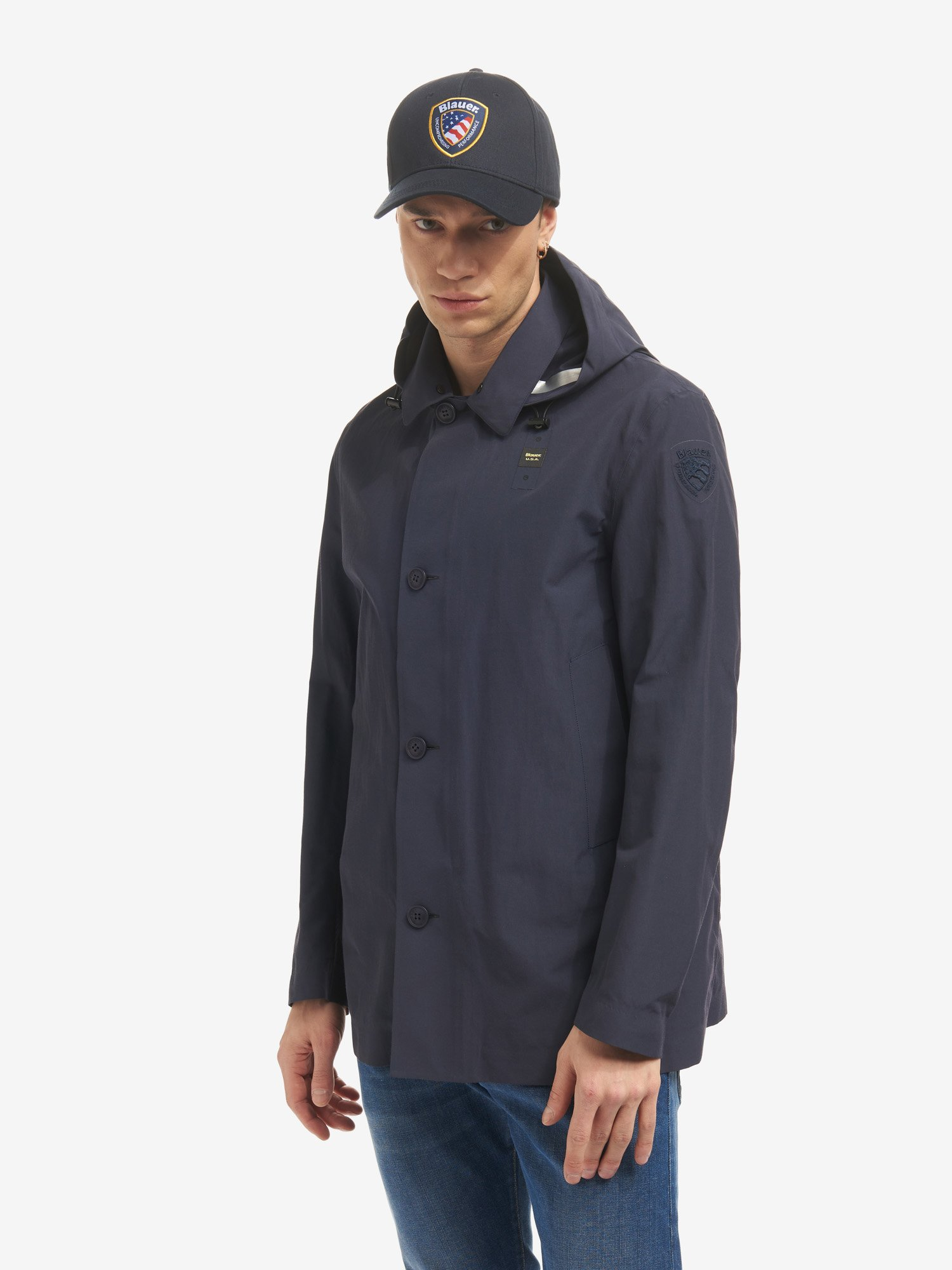Blauer - JAY  TRENCH COAT IN TECHNICAL COTTON - Dark Sapphire - Blauer