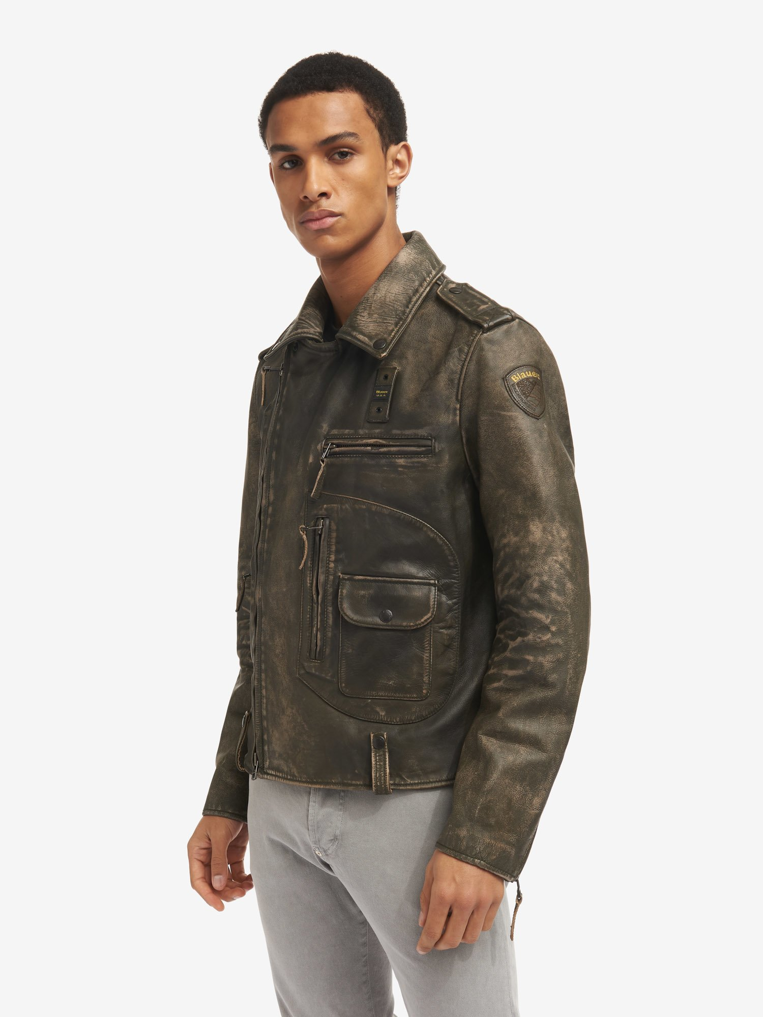 CHIODO VINTAGE IN PELLE TOMMY - Blauer