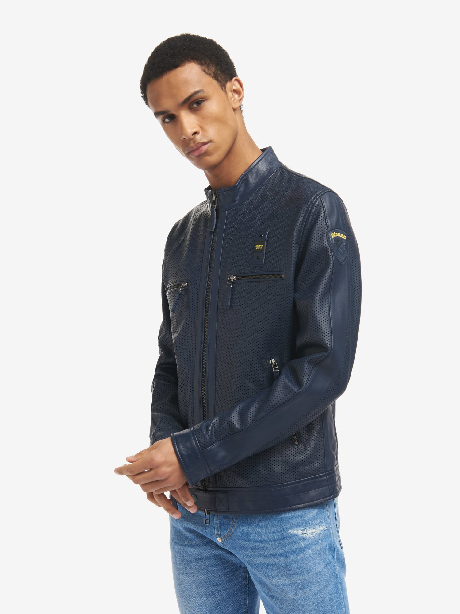 LLOYD UNLINED PERFORATED LEATHER BIKER JACKET - Blauer