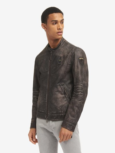 LEON VINTAGE TREATED LEATHER JACKET