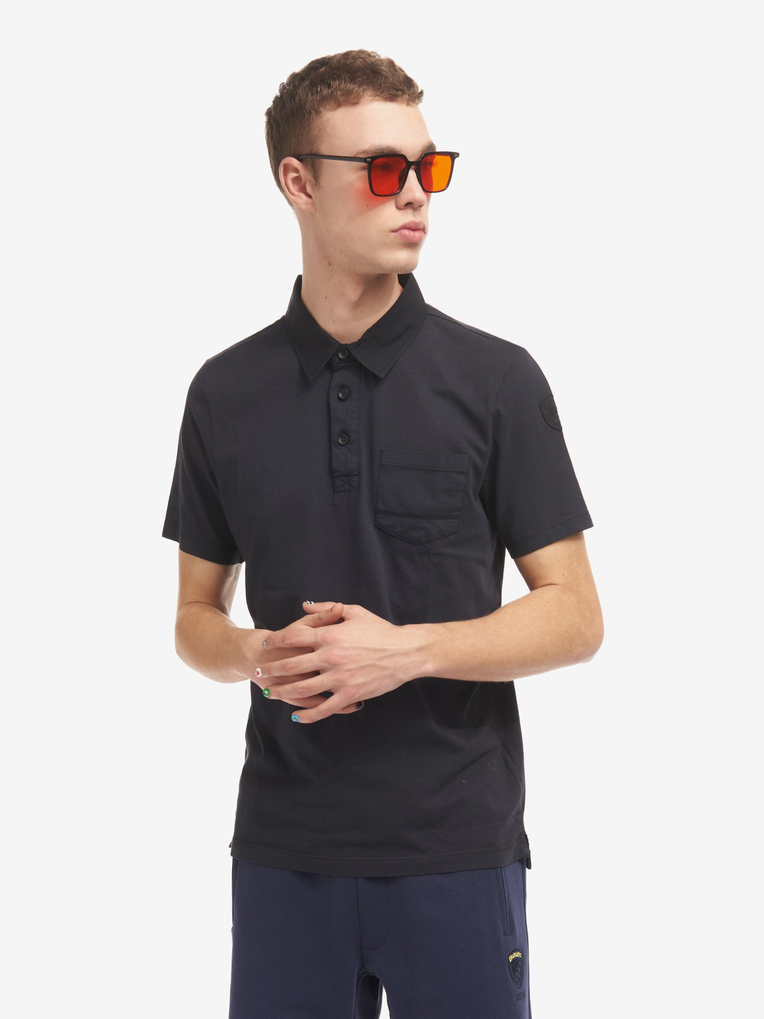JERSEY POLO SHIRT WITH POCKET - Blauer