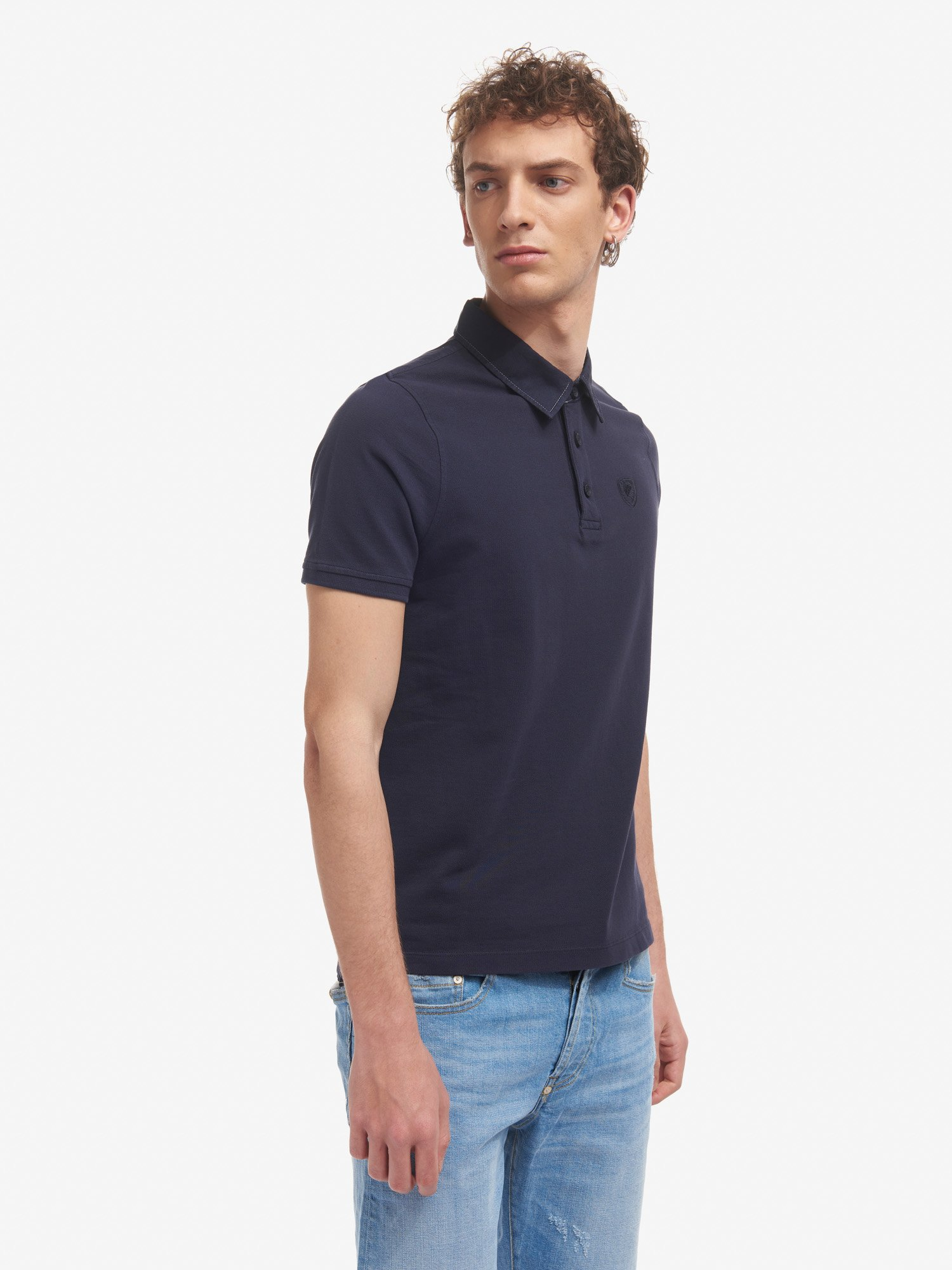 POLO SHIRT WITH CONTRASTING COLOUR COLLAR - Blauer