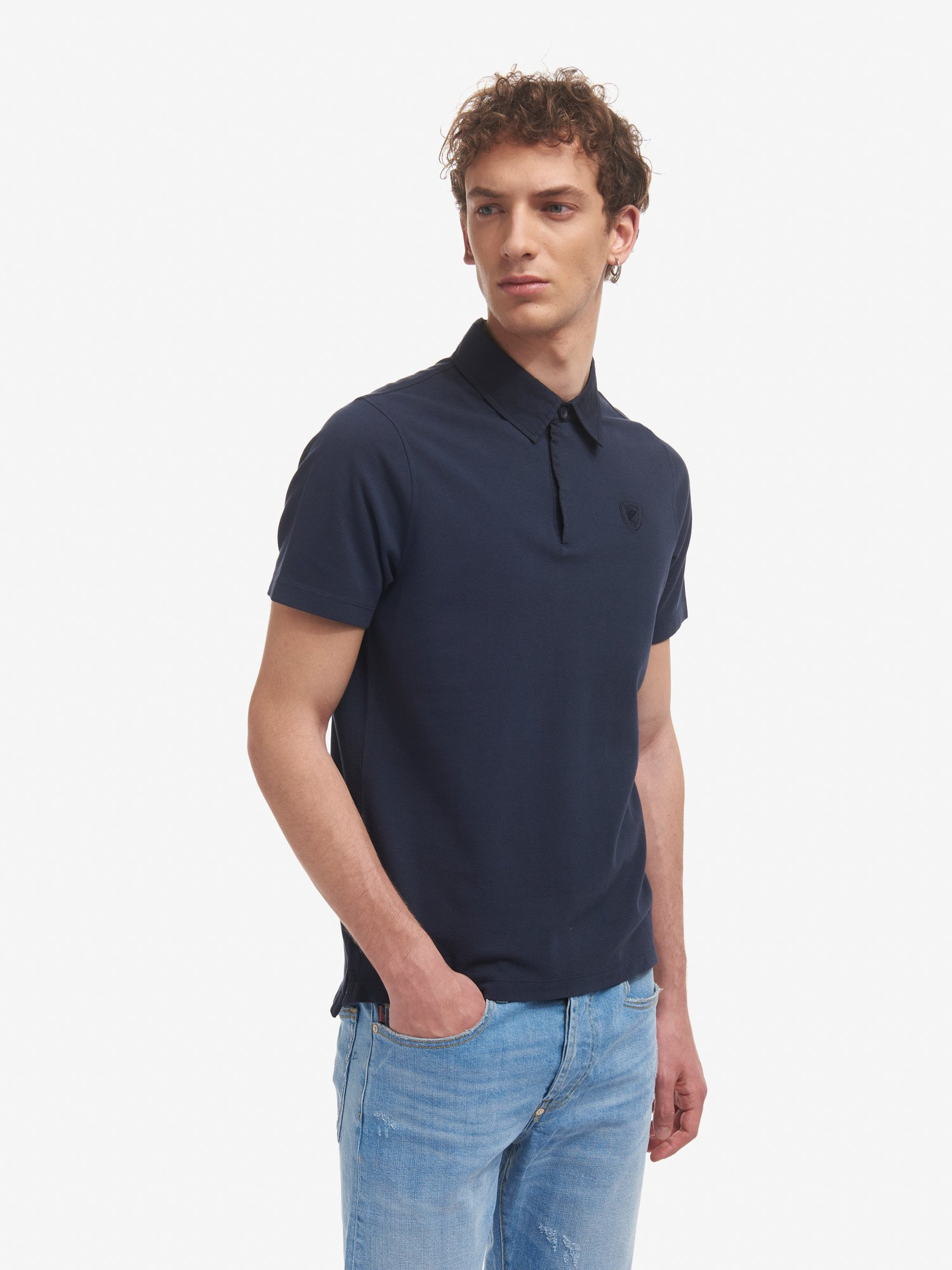 Blauer - POLO SHIRT WITH POPLIN COLLAR - Dark Sapphire - Blauer