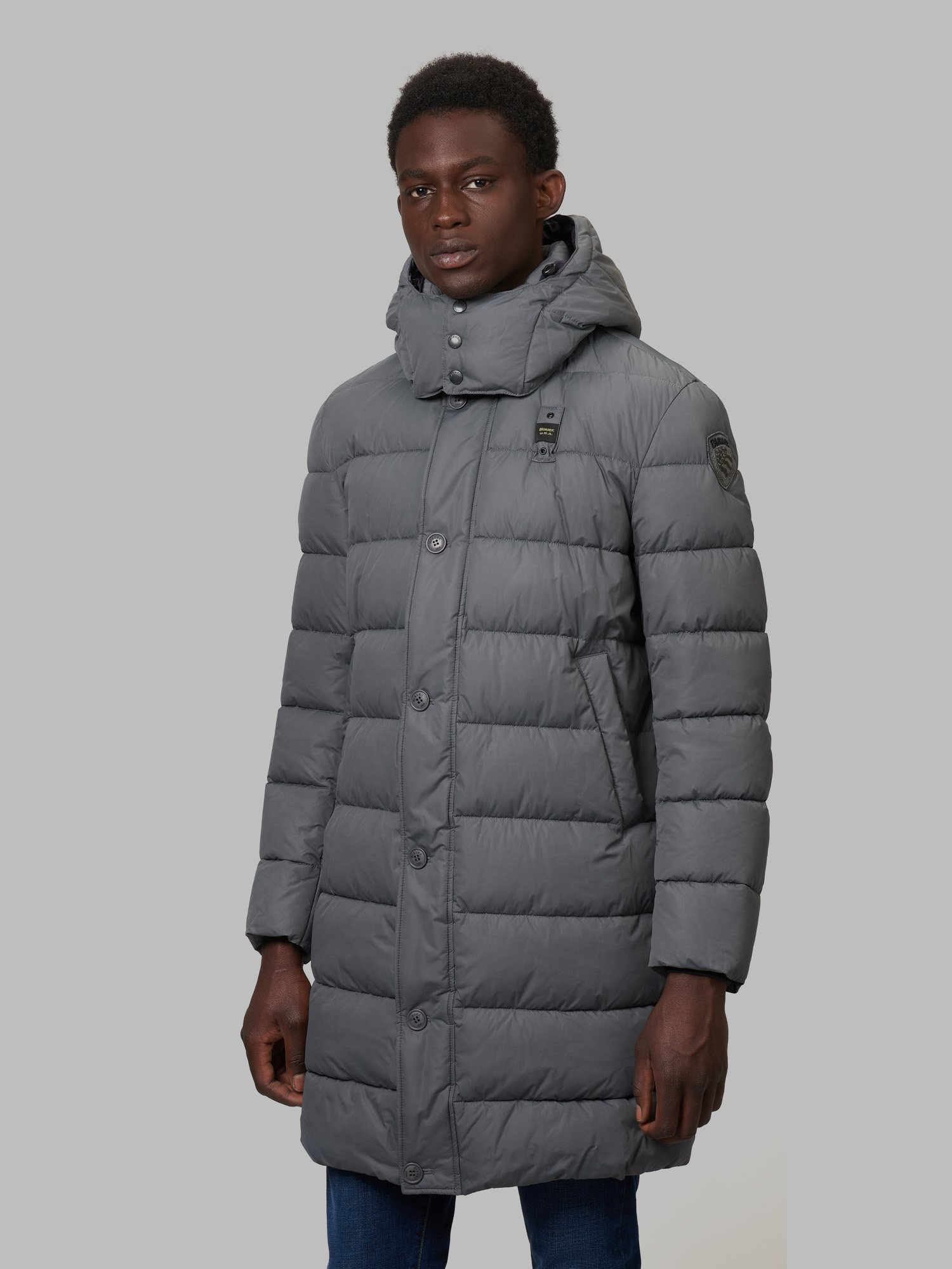 CHRISTIAN LONG DOWN JACKET WITH RECYCLED PADDING - Blauer