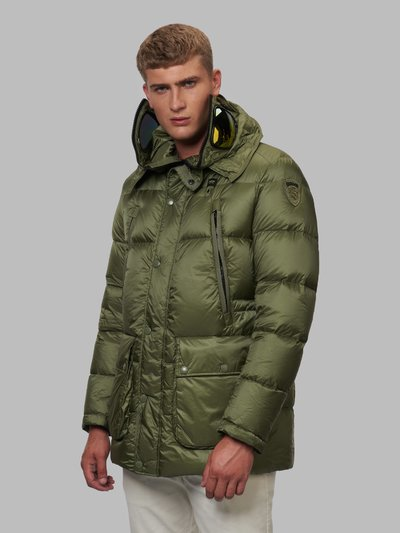 CHRISTIAN DOWN JACKET WITH PROTECTIVE GLASSES - Blauer