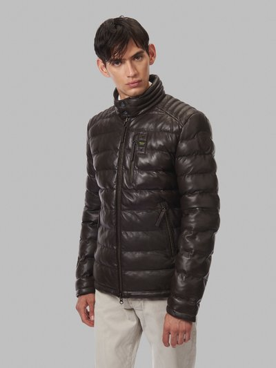 GABRIEL LEATHER JACKET WITH STRIPE QUILTING