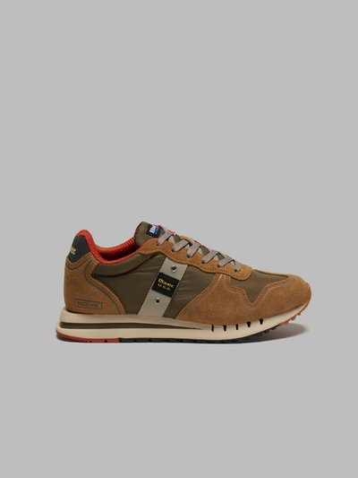 QUARTZ LEATHER-TRIMMED SUEDE SNEAKERS