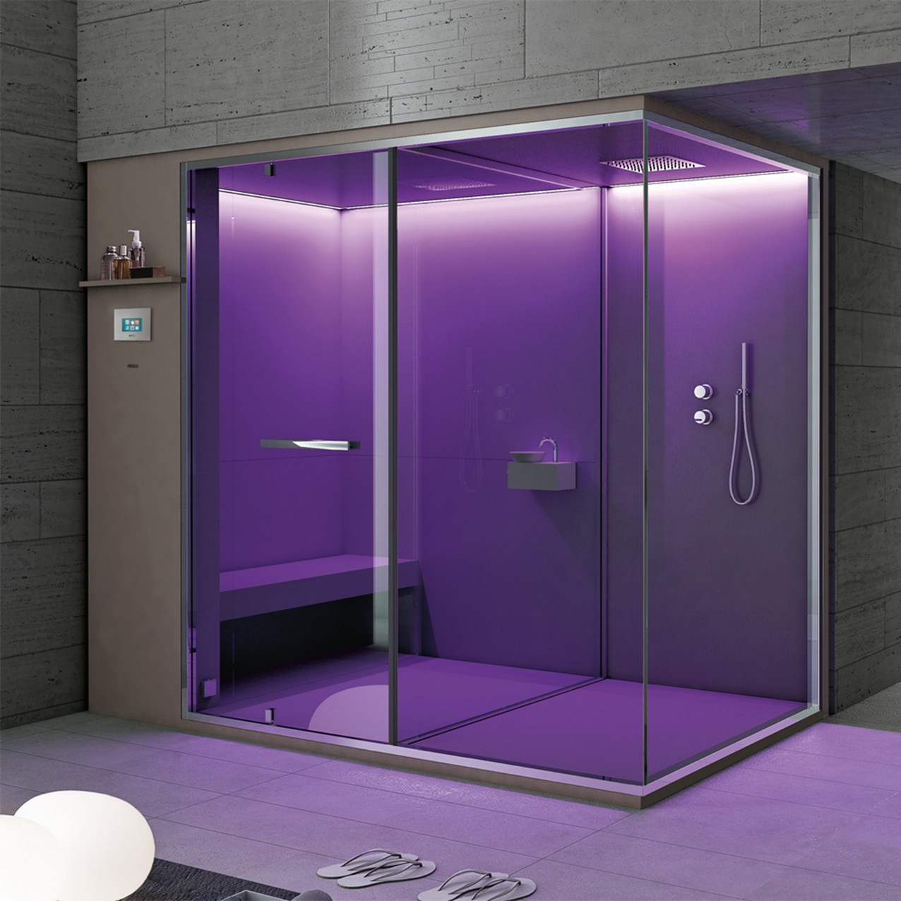 Hammam with built-in shower