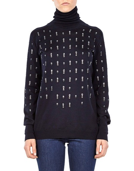 Crystal Embellished Turtle Neck Sweater