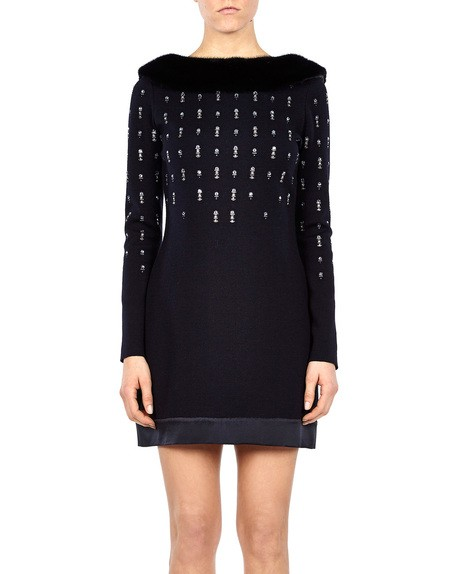 Embellished Knit Dress With Fur Collar