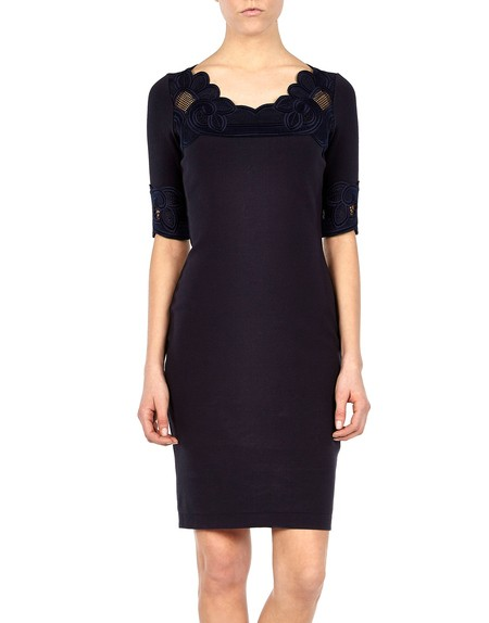 Macramé lace Appliqued Stretch-knit Dress.