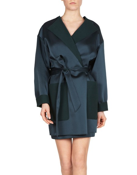Petrol Satin Coat With Self Belt