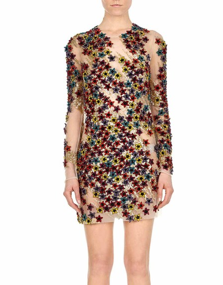 Multicolor Embroidered Minidress