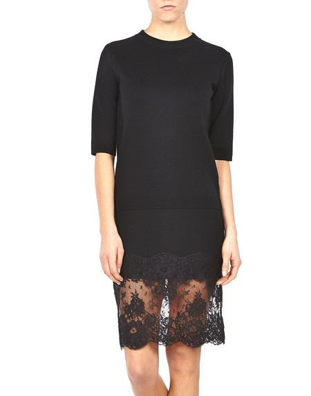 Lace-appliqued Knit Dress