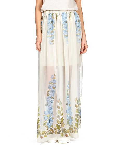 Floral-printed Chiffon Maxi Skirt