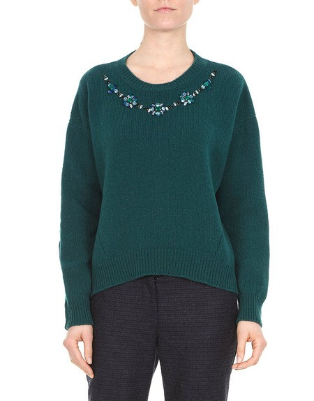 Embellished Wool And Cashmere Sweater.