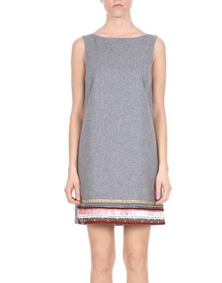 Trim Embellished Wool Mini Dress