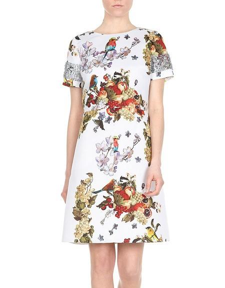 Fruit And Flowers-print Duchesse Dress